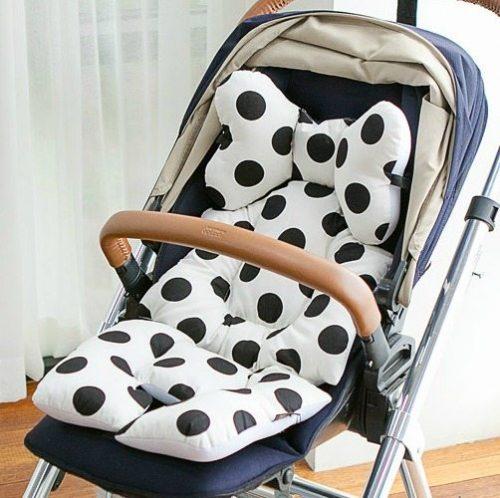 pram liner black polka dot image