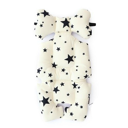 black and ivory stars pram liner image