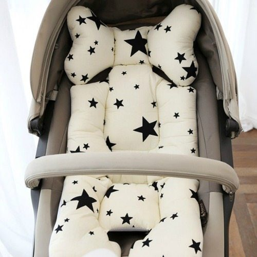 pram liner black and ivory stars image